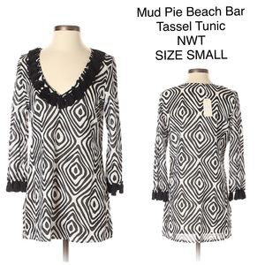 MUD PIE BEACH to BAR Tassel Trim Tunic CoverUp S